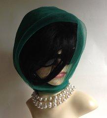 Green Vintage 1960s Nylon Chiffon Scarf Rolled & Stitched Hem
