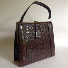 1940s Vintage Handbag Faux Crocodile Chestnut Brown Exterior Faux Suede Lining