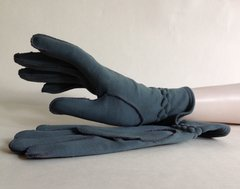 Grey Fabric Vintage Gauntlet Gloves Soft Cotton Fabric Lining Size 7.5