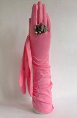 Cornelia James Pink 1950s Stretch Gathered Nylon Vintage Evening Opera Gloves Size 7.5