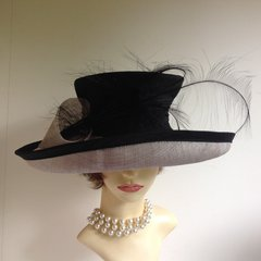 PETER BETTLEY Formal Hat Angular Top Black Silk & Natural Fibre Formal Hat With Feather Wedding Church Vintage Functions