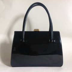 WALDYBAG 1950s Vintage Handbag Black Patent Leather With Dark Tan Suede Lining