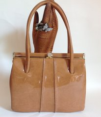 MIDDX Tan Patent 1960s Vintage Handbag Kelly Bag With Buff Suede Lining