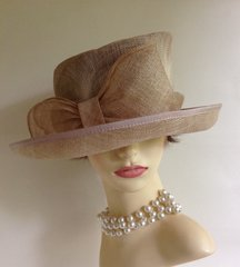 Natural Straw Dress Hat With Large Bow Detail Racing Church Wedding Gorgeous asymmetrical natural coloured straw hat, with large bow detail