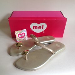 "Mel Mellissa 'Pepper"" Gold Jelly Rubber Flip Flops Sandals With Box UK 4 EU 37"