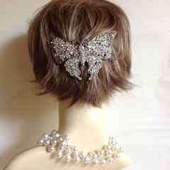 Silver Toned Large Butterfly Diamanté Decorated Hair Clip Barrette Evening Party