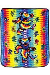 Grateful Dead Dancing Bear Tie Dye Fleece Throw