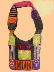 Grateful Dead Dancing Bear Cotton Patchwork Print Peddler Bag