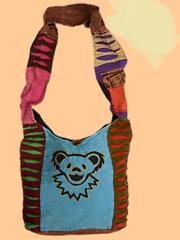 Grateful Dead Dancing Bear Cotton Patch & Embroidered Peddler Bag