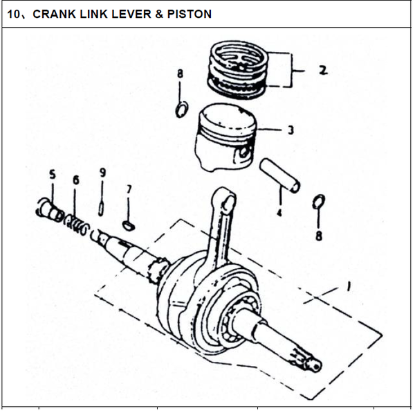 250cc Crankshaft, Piston, Connecting Rod