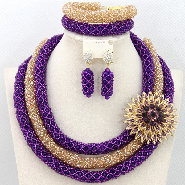2015 Latest African Nigerian Wedding Party Beads Necklace