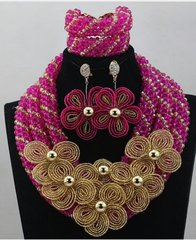 ZE100Z4 Artifical Curved Beads Beads Wedding Necklace Set