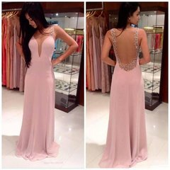 EA00020_ High Quality Long Evening Dress, Prom Dress -beading and crystal belt made of honour dress
