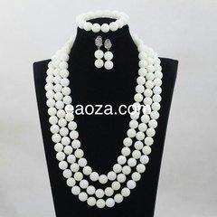 JA100B1 100% Genuine white round Coral beads necklace set