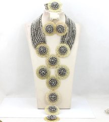 00EA613- 8 layer 9 pendant African Nigerian Crystal Beads Wedding Necklace Set