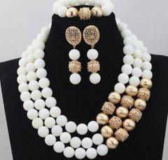 JA100B2 white round Coral beads necklace set