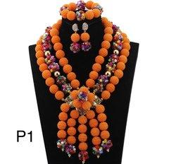 P12345 African Nigerian Wedding Ball Beads Necklace Set