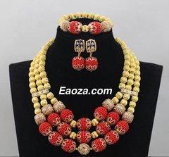 P001 African Nigerian Wedding Ball Beads Necklace Set