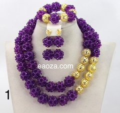 DD17PI African Nigerian Ball Beads and gold findings Wedding Necklace Set