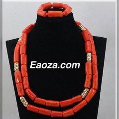 ZE100Z2 Natural Coral Beads Wedding Necklace Set