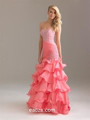EA00030_ High Quality Long Evening Dress, Prom Dress -beading and crystal belt made of honour dress