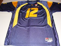 #12 GENO SMITH West Virginia Mountaineers NCAA QB Blue Mint Throwback Jersey