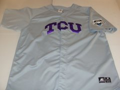 TCU Horned Frogs NCAA Baseball 2010 CWS Grey Throwback Team Jersey