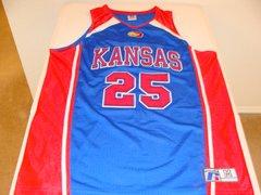 #25 KANSAS Jayhawks NCAA Basketball Blue Throwback Team Jersey