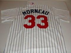 #33 JUSTIN MORNEAU Minnesota Twins MLB 1B/DH White PS Mint Throwback Jersey