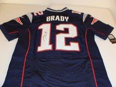 #12 TOM BRADY New England Patriots NFL QB Blue Throwback Jersey AUTOGRAPHED