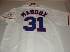 #31 GREG MADDUX Chicago Cubs MLB Pitcher White HOF Mint Throwback Jersey