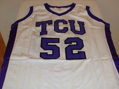 #52 TCU Horned Frogs NCAA Basketball White Throwback Team Jersey