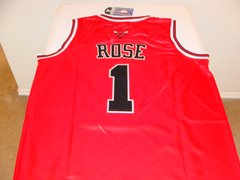#1 DERRICK ROSE Chicago Bulls NBA Guard Red 20th Anniv Throwback Jersey