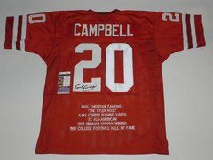 #20 EARL CAMPBELL Texas Longhorns NCAA RB Orange Stats Throwback Jersey AUTOGRAPHED