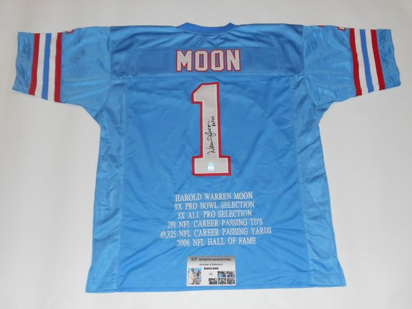 5109b484 ... 1 WARREN MOON Houston Oilers NFL QB Blue Stats Throwback Jersey  AUTOGRAPHED ...
