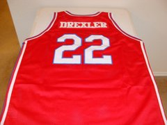 #22 CLYDE DREXLER Houston Cougars NCAA Forward Red Throwback Jersey