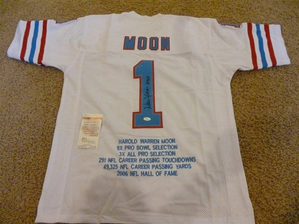 3c1984d5 ... 1 WARREN MOON Houston Oilers NFL QB White Stats Throwback Jersey  AUTOGRAPHED ...