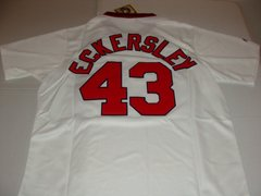 #43 DENNIS ECKERSLEY Boston Red Sox MLB Pitcher White Mint Throwback Jersey