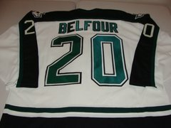 #20 ED BELFOUR Dallas Stars NHL Goalie White/Green Throwback Jersey