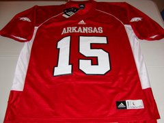 #15 ARKANSAS Razorbacks NCAA Football Red Mint Throwback Jersey