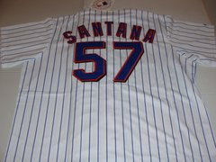 #57 JOHAN SANTANA New York Mets MLB Pitcher White PS Mint Throwback Jersey