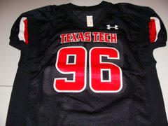 #96 TEXAS TECH Red Raiders NCAA Football Black Mint Throwback Jersey