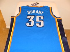 #35 KEVIN DURANT Oklahoma City Thunder NBA Forward Blue Throwback Jersey