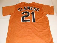 #21 ROGER CLEMENS Texas Longhorns NCAA Pitcher Orange Throwback Jersey