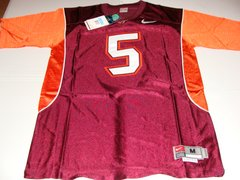 #5 VICK/TAYLOR Virginia Tech Hokies NCAA Football Maroon Mint Throwback Jersey