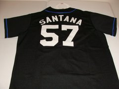 #57 JOHAN SANTANA New York Mets MLB Pitcher Black Mint Throwback Jersey