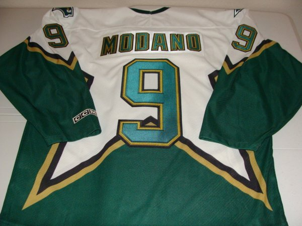 9 mike modano dallas stars nhl center white green throwback jersey