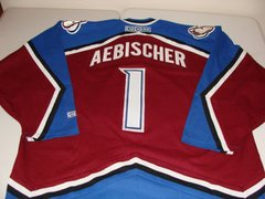 #1 DAVID AEBISCHER Colorado Avalanche NHL Goalie Red/Blue Throwback Jersey