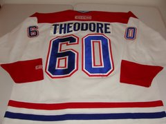 #60 JOSE THEODORE Montreal Canadiens NHL Goalie White Throwback Jersey