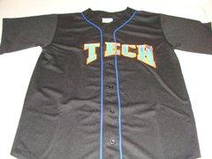 #1 TECH Baseball Black Throwback Team Jersey